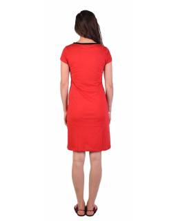Krátke červené šaty krátky rukáv, potlač