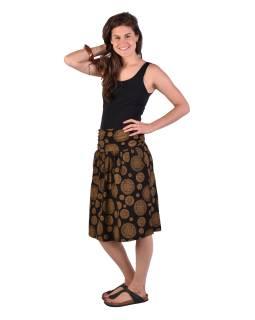 Dlhšia sukne s vreckami, čierna s Chakra potlačou, elastický pás