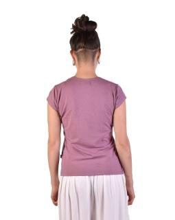 Staroružové tričko s krátkym rukávom, potlač, prestrih vo výstrihu, Bio Bavlna