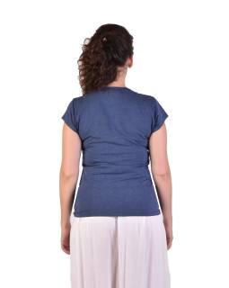 Modré tričko s krátkym rukávom, potlač, prestrih vo výstrihu, Bio Bavlna