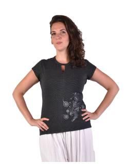 Čierne tričko s krátkym rukávom, potlač, prestrih vo výstrihu, Bio Bavlna