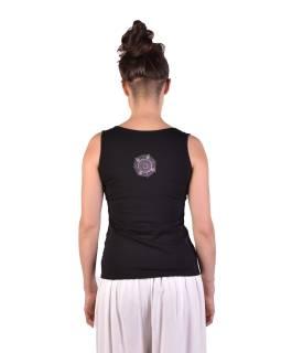 Čierne tielko, potlač a výšivka mandala, Bio Bavlna s lycrou