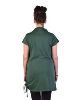 Dlhé fľaškovo zelené tričko s krátkym rukávom, potlač Mandala, golier