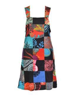 Krátke šaty na traky a vreckom, multifarebný patchwork