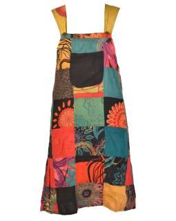 Krátke šaty na traky a vreckom, multifarebný patchwork, stonewash