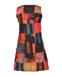 Krátke šaty bez rukávov, vrecká, oranžový patchwork, stonewash, zips na boku