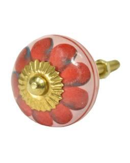 Maľované porcelánové madlo na šuflík, ružové, červená kvetina, dva prúžky 3,7cm