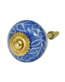 Maľované porcelánové madlo na šuflík, modrej, biela kvetina, priemer 3,7 cm