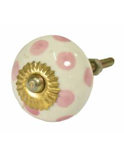 Maľované porcelánové madlo na šuplík, biele s ružovými bodkami, priemer 3,7 cm