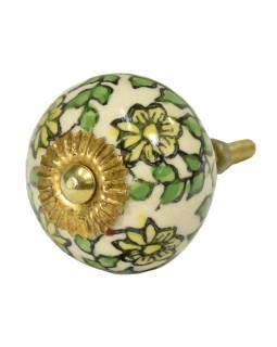 Maľované porcelánové madlo na šuplík, béžovej s kvetmi a lístkami, priemer 4cm