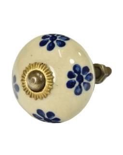 Maľované porcelánové madlo na šuflík, bielej, modrej maľované kvety, priemer 3,7 cm