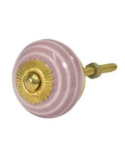 Maľované porcelánové madlo na šuplík, ružové so svetlým prúžkom, priemer 3,7 cm