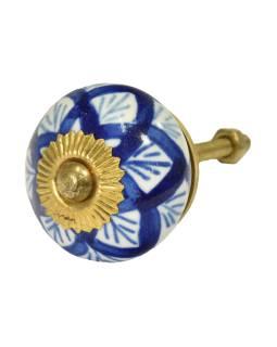 Maľované porcelánové madlo na šuplík, biele, tmavo modrý dekor, priemer 3,8 cm