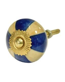 Maľované porcelánové madlo na šuplík, béžovo-modrej, priemer 3,7 cm