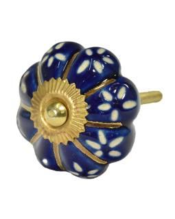 Maľované porcelánové madlo na šuflík, modrej, zlatej lúče a biele kvety, 4,5cm