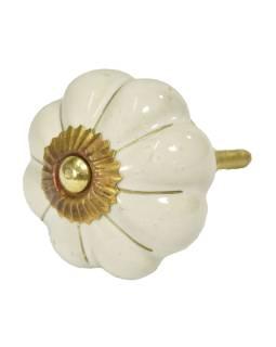 Maľované porcelánové madlo na šuflík, krémovo bielej, zlatý dekor, priemer 4,5 cm