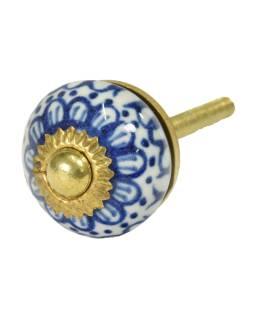 Maľované porcelánové madlo na šuplík, biele, modro maľovaný dekor, priemer 2,7cm