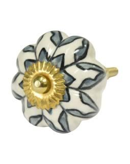 Maľované porcelánové madlo na šuplík, biele, maľovaná šedá kvetina, priemer 4,5 cm