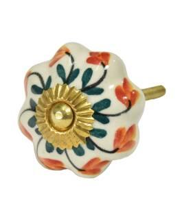 Maľované porcelánové madlo na šuplík, biele, červeno-žlté kvety, priemer 4,3cm