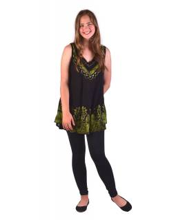 Letné blúza / mini šaty bez rukávov, výšivka, čierno-zelená