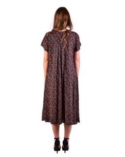 Dlhé šaty s krátkym rukávom, čierne s drobným potlačou červených kvetov