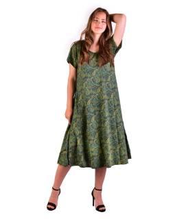 Dlhé šaty s krátkym rukávom, zelené s drobným paisley potlačou