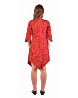 Krátke šaty s 3/4 rukávom, červené s drobným paisley potlačou