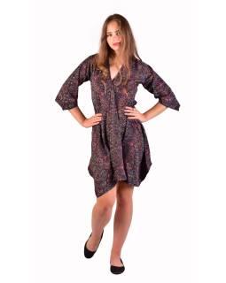 Krátke šaty s 3/4 rukávom, čierne s drobným paisley potlačou