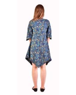 Krátke šaty s 3/4 rukávom, tmavo modré s drobným potlačou kvetín