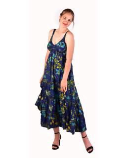 Dlhé šaty na ramienka, tmavo modré s potlačou kvetín