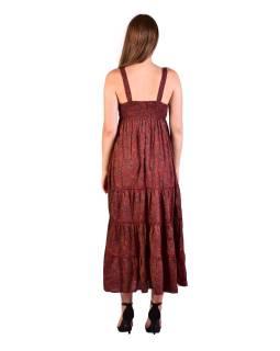 Dlhé šaty na ramienka, červené s drobným paisley potlačou