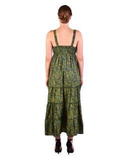 Dlhé šaty na ramienka, zelené s drobným paisley potlačou