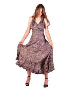 Dlhé letné šaty bez rukávov, béžovo-šedivé s paisley potlačou