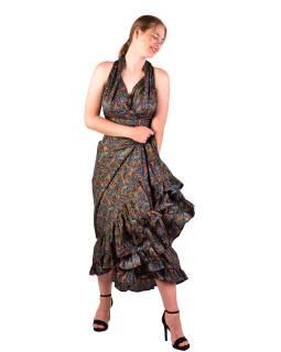 Dlhé letné šaty bez rukávov, tmavo modré s drobným paisley potlačou