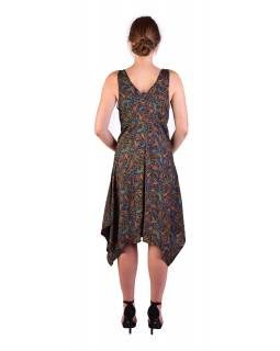 Krátke šaty na ramienka, tmavo modré, drobný farebná paisley potlač