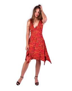 Krátke šaty na ramienka, červené s drobným paisley potlačou