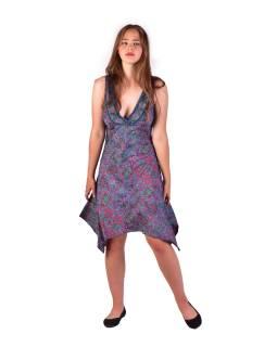 Krátke šaty na ramienka, fialovo-ružové s drobným paisley potlačou