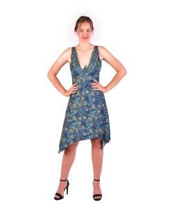 Krátke šaty na ramienka, tmavo modré s drobným potlačou kvetín