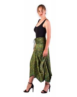 Dlhá letná nariasená sukňa, vrecká, zelená s drobným paisley potlačou