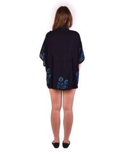 Letné voľná blúzka s krátkym rukávom, čierna, modré kvety