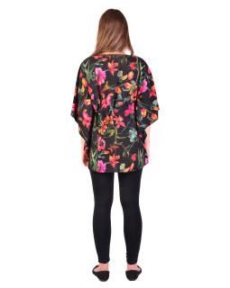 Blúzka-tunika, čierna, potlač ružových kvetov, šnúrka na stiahnutie