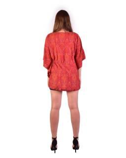 Blúzka-tunika, červená s drobným paisley potlačou, šnúrka na stiahnutie