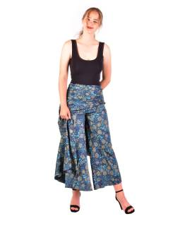Pohodlné voľné nohavice, široké nohavice, modro-tyrkysové, paisley potlač
