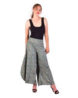 Pohodlné voľné nohavice, široké nohavice, tyrkysové s paisley potlačou