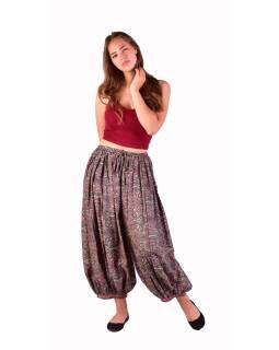 Balónové pohodlné voľné nohavice, béžovo-šedivé s paisley potlačou