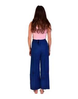 Dlhé zavinovacie nohavice s výšivkou, tmavo modré