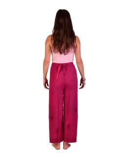 Dlhé zavinovacie nohavice s výšivkou, ružovej