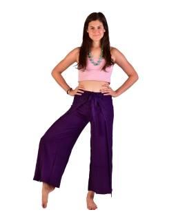 Dlhé zavinovacie nohavice s výšivkou, tmavo fialovej