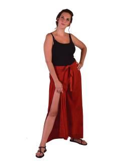 Dlhé zavinovacie nohavice s výšivkou, červené