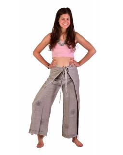 Dlhé zavinovacie nohavice s výšivkou, šedej